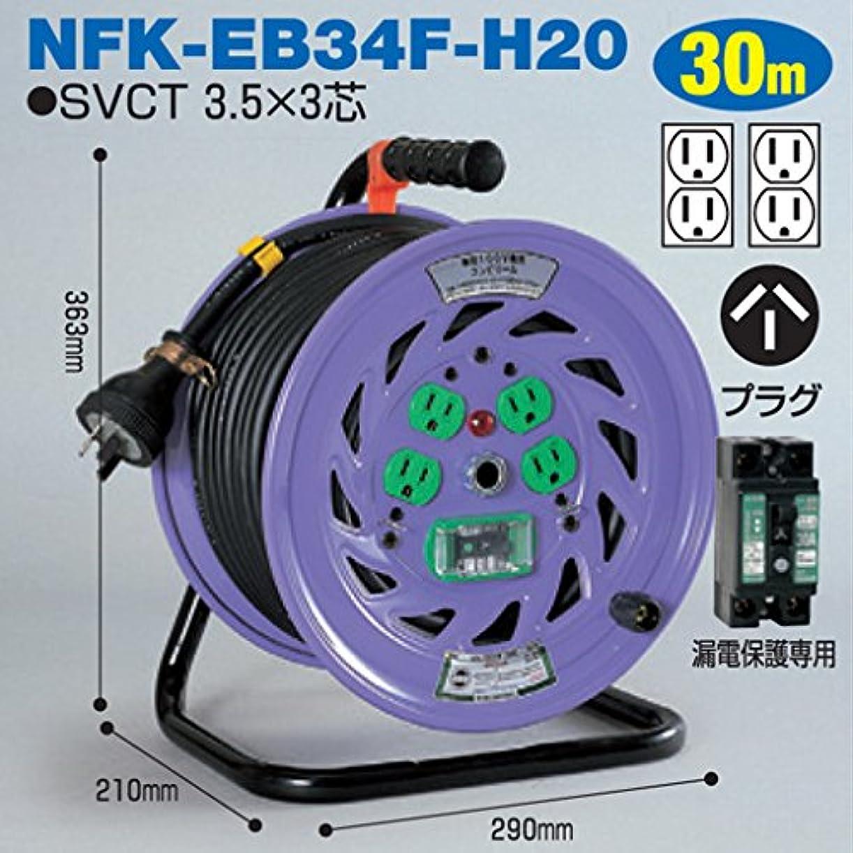 残るロデオ良さ電工ドラム コンビリールシリーズ 100V専用(屋内型)NFK-EB34F-H20 30m Hタイプ[20A] アース付日動工業