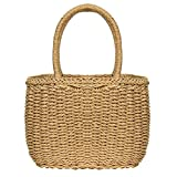 Straw Bags for Women, Hand-woven Straw Small Hobo Bag Round Handle Ring Tote Retro Summer Beach Rattan bag (Brown)