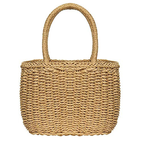Straw Bags for Women, Hand-woven Straw Large Hobo Bag Round Handle Ring Tote Retro Summer Beach Rattan bag (Brown)