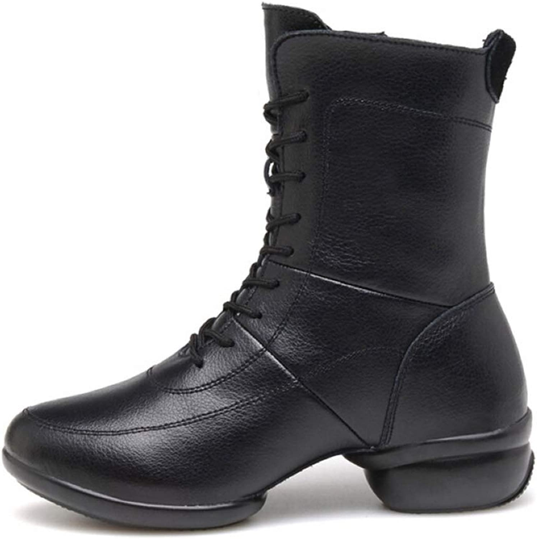 LXIANGP Women's Boots, Dance shoes Martin Boots Women's Spring and Autumn Winter Leather Women's shoes Plus Velvet Wild Boots (35EU-40EU)