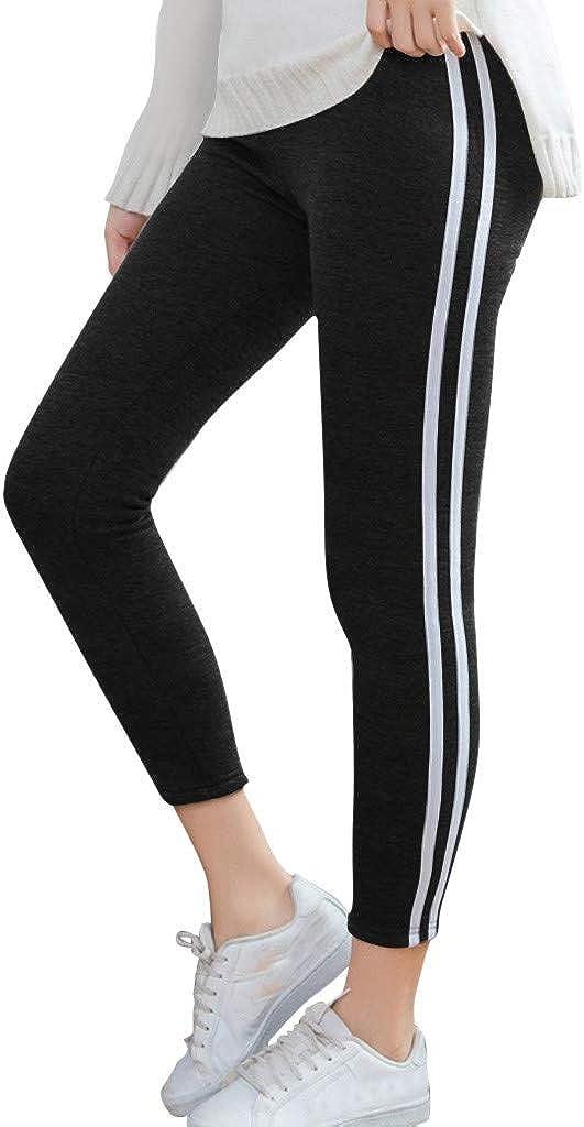 F_Gotal Womens Yoga Pants High Waist Tummy Control Stripe Fitness Workout Leggings Athletic Gym Jogger Sweatpants