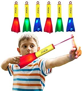US Sense 6 Pack LED Foam Finger Rockets Glowing Slingshot Flying Toys for Boys Girls Birsday Party Favors, Fun Outdoor Group Camping Beach Garden Pool Games Outdoor Sports Toy
