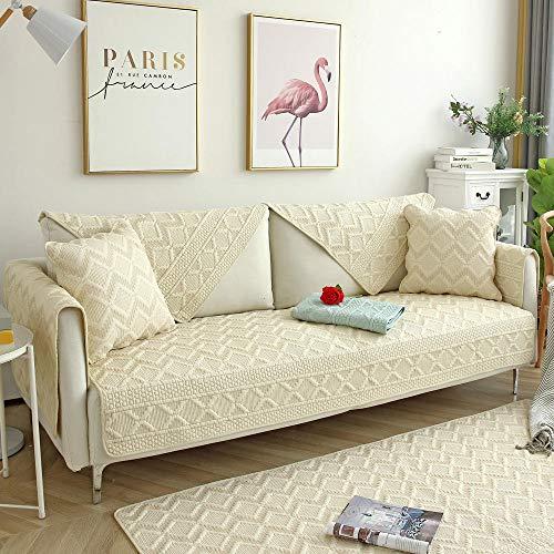 Homeen Sofa Cover,Couch Coat,Funda de sofá de algodón Reversible,Funda de sofá de Tela de 2/3/4/5 plazas,Protector de sofá Transpirable,Protector de sofá Suave-Beige_El 110 * 180cm