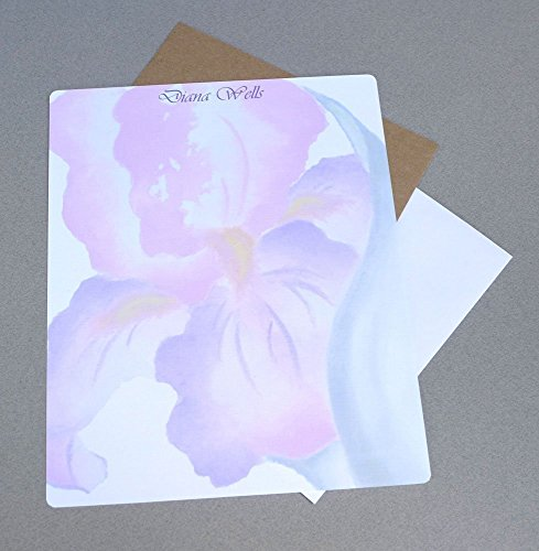 Pink & Purple Watercolor Iris Complete Writing Paper Stationery Set With Envelopes