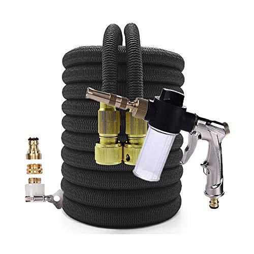 LOVCCIE Garden Heavy-Duty Nozzle, Extendable Hose Spray Gun Set Flexible Magic High Pressure Car Wash Butler Home Garden Watering Irrigation 1/2 Connector (Color : Black, Size : 25ft)