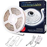 Led Strip Lights 16.4 Feet Dimmable White Led Light Strip Flexible Led Tape Light 12v Under Cabinet Lighting Kits with UL Power Supply, Adhesive Clips, Dimmer Switch and Connectors