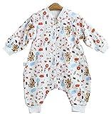 Chilsuessy Baby ganzjahres Schlafsack mit Beinen,abnembar Langarm,Unisex Kleine Kinder Sommerschlafsack,Baby Strampler Schlafanzug, Giraffe, 90/Baby Hoehe 95-105cm