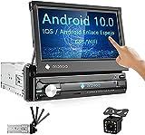 CAMECHO 1 Din Android Autoradio avec RDS Navigation GPS 7 Pouces Écran Tactile Poste Radio Voiture avec Bluetooth Lien Miroir iOS/Android/Entrée AUX/WiFi/Récepteur FM+Double USB+ Caméra arrière