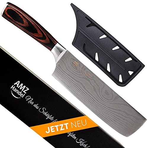 AMZHANDEL® Hackmesser | rostfrei | besonders handlich Dank Pakkaholz | extrem scharf | Profi Küchenmesser ideal als Hackmesser & Fleischmesser