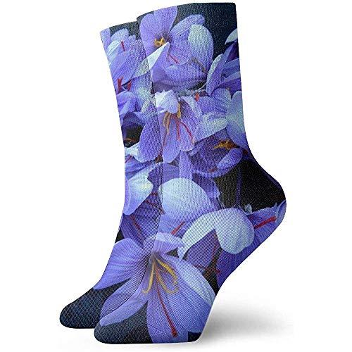 Blaue Safrankrokus-Blumen-Söckchen-beiläufige gemütliche Mannschafts-Socken für Männer, Frauen, Kinder
