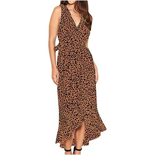 Women's Dresses Leopard Print V Neck Sleeveless Wrap Front Irregular Ruffle Hem Casual Maxi Dress Pink