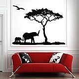 BailongXiao Madre Elefante árbol Etiqueta de la Pared Pegatina Sabana Africana Zoo vivero decoración Infantil Selva Animal calcomanía habitación de los niños 115x85cm