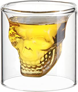 スカル ショットグラス ガラス製 カップ 飲み 容器 パーティー ドリンク用 (1個)