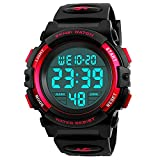 Digital Watch for Girls Ages 4-15, Kids Red Digital Sports Waterproof Outdoor Analog Electronic Watches with Alarm Stopwatch, Children Birthday Presents Gifts Toys for Age 4-12 Year Old Boys Girls