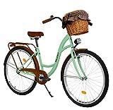 Milord Bikes Bicicletta Comfort Menta a 3 velocità da 28 Pollici con cestello e Marsupio Posteriore, Bici Olandese, Bici da Donna, City Bike, retrò, Vintage