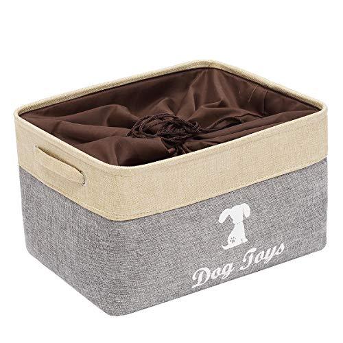 MOREZI Caja de juguetes para mascotas de lona con asa y cierre de cordón, adecuada para guardar juguetes para perros y suministros para mascotas-Beige/Gris
