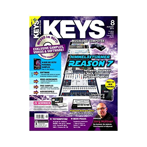 Keys 8 2013 mit DVD - Reason 7 - Software auf DVD - Personal Samples - Free Loops - Audiobeispiele