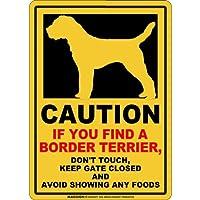 CAUTION IF YOU FIND マグネットサイン:ボーダーテリア(スモール)イエロー 注意 DON'T TOUCH 触れない/触らない KEEP GATE CLOSED ドアを閉める 英語 防犯 アメリカンマグネットステッカー