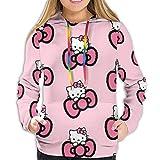 Hello Kitty Sudadera con capucha para mujer con bolsillo delantero y estampado en 3D con cordón S-XXL