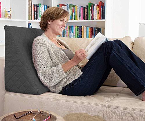 Sabeatex® Rückenkissen, Keilkissen für Couch und Sofa, Lesekissen für bequemes Sitzen. 5 Unifarben für trendiges Wohndesign. Louge-oder Palettenkissen Größe 60 cm x 50 cm x 30 cm (anthrazit)