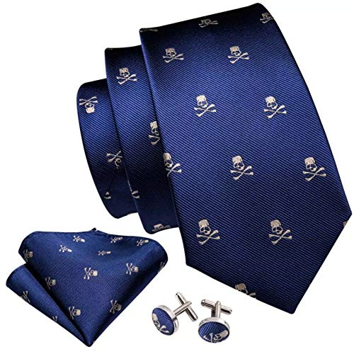 GPZFLGYN Conjunto de broche de gemelos con pañuelo y corbata de calavera azul para hombre, corbatas de seda para hombre, traje de fiesta, negocios