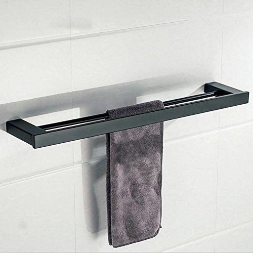 BOATX Bad Doppel-Handtuchhalter schwarz matt aus Edelstahl 60cm Handtuchstange Badetuchhalter Badetuchstange Wandhandtuchhalter,Wandmontage Bohren f.Badezimmer