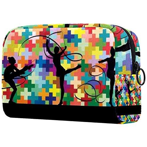Bolsa de cosméticos para mujer haciendo calistenia gimnasia deporte trucos con cinta adorable espacioso maquillaje bolsas de viaje neceser accesorios organizador