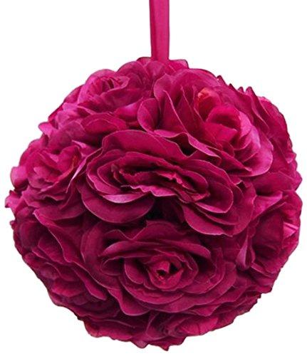 Firefly Imports Homeford Flower Kissing Balls Pomander Pom Pom Wedding Centerpiece, Fuchsia