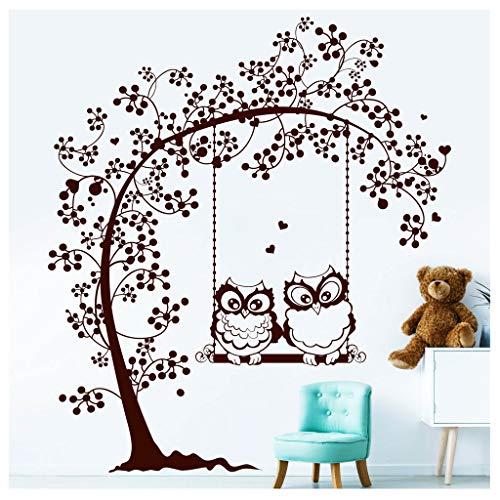 Wandtattoo Zwei Eulen auf Einer Baumschaukel Wandaufkleber Kinderzimmer / 09 Hellrosa / 80 cm hoch x 91 cm breit