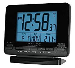 Large Black Jumbo Blue LED Display Number Stylish Case with Easy Use Controls Dual Alarm Function with Light and Snooze Radio Controlled for accuracy and convenience. Automatic set up and Summer and Winter Change Dimensions: 107x122x47mm Battery Oper...