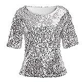 Linkay T Shirt Damen Langarm Bluse Tops Pailletten Oberteile Mode 2019 (Silber, XXXXX-Large)