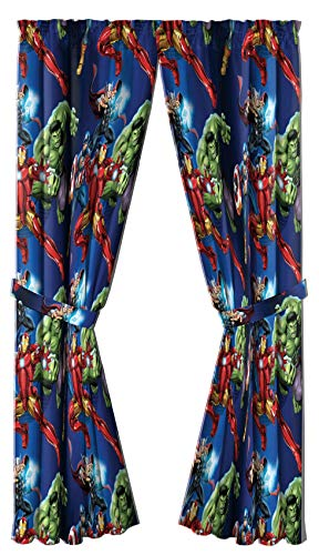 """Marvel Avengers Blue Circle 84"""" Inch Drape - Beautiful Room Décor & Easy Set Up, Bedding Features Captain America, Iron Man, & Thor - Curtains Include 2 Tiebacks, 4 Piece Set (Official Marvel Product)"""