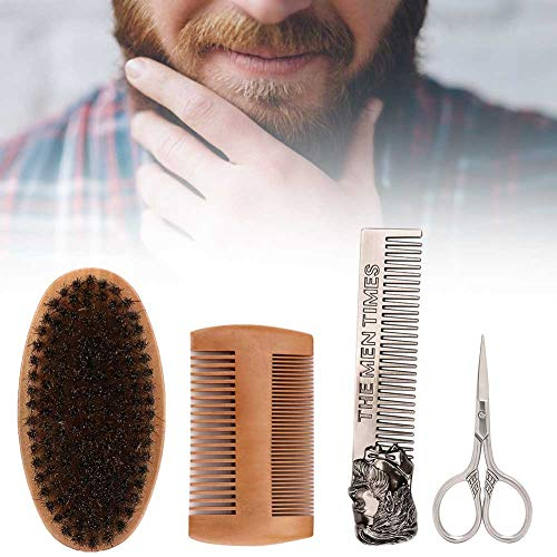 Barbe Care Set, Beard Care Set, Beard Trimming Kit, 4Pcs Men Hair Mustache Brush Beard Peigne Ciseaux Styling Beard Care Tool Set for Men's Shave(#1)