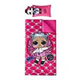 Nickelodeon LOL Surprise Printed Sleeping Bag with Coordinating Figural Pillow, Ages 3+, Pink (TK960221)