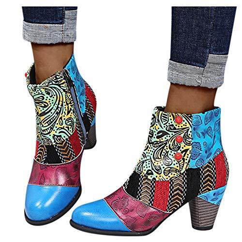 Luckycat Botas Mujer 2020 Botines Zapatos de Cordones Vintage Otoño Botas Tacón RojoondaCómodas Mujeres Botas Cortas con Rojoonda Flores Botines ✅