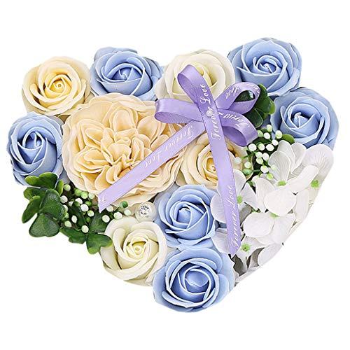 Andouy 1 Schachtel Blumen Duftende Blume Badeseife Plant ätherisches Öl Seife für Jahrestag/Geburtstag/Valentinstag/Muttertag(21x18x8.5cm.Himmelblau)