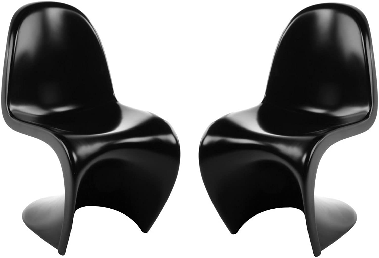 silver Import PDI-127-AAS-SB-2 Set of 2 Verner Panton Chair in Shinny Black