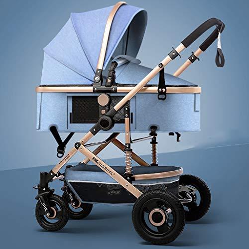 HHHGO 3-in-1 kinderwagen, met regenhoes, lichte en opvouwbare hooglandschapskinderwagen, tweeweg-kinderwagen voor pasgeborenen en kleine kinderen, rubberen fietsen, comfortabel en grote ruimte