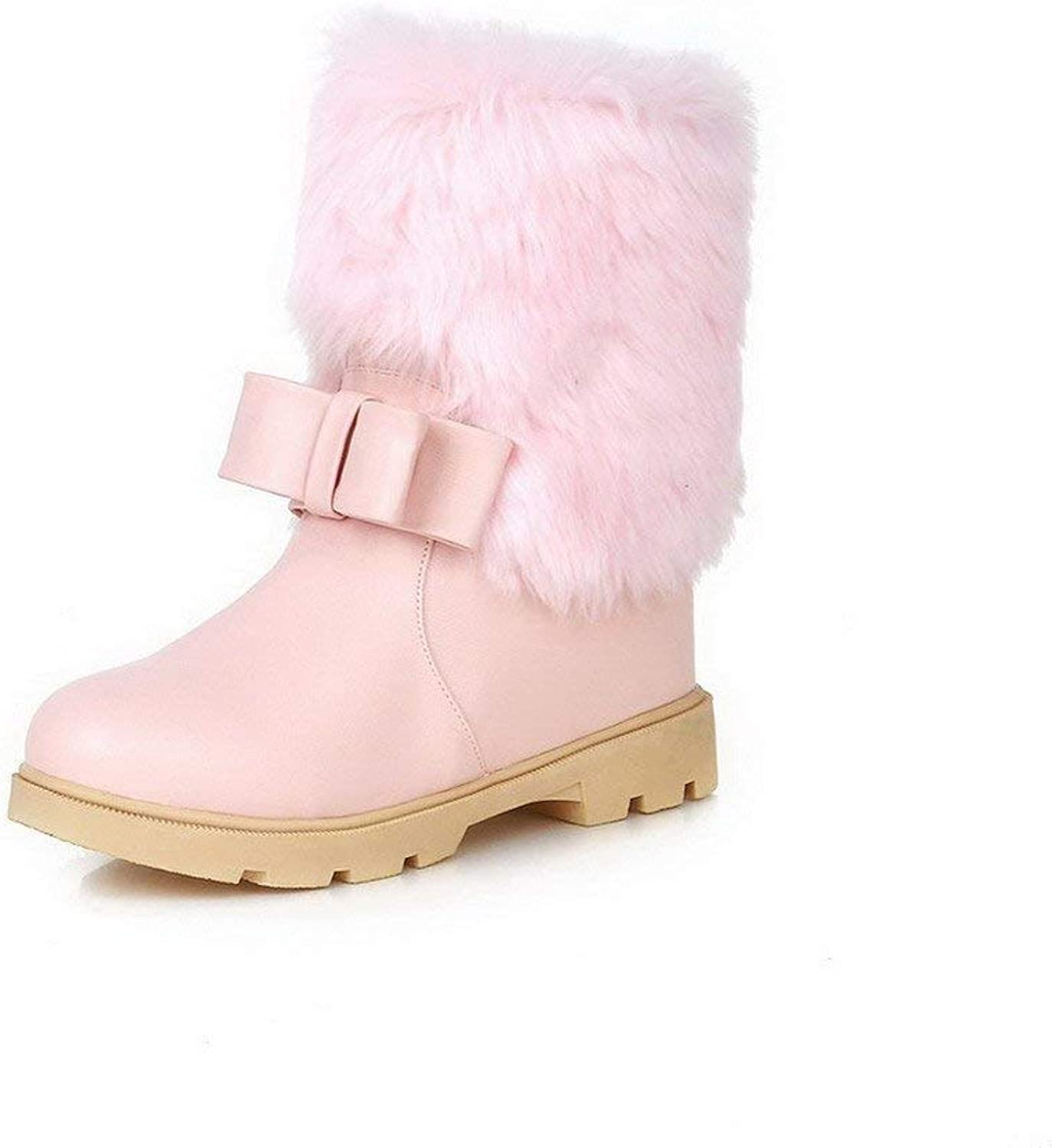 Women's Soft Material Pull-on Round Closed Toe Kitten-Heels Low-top Boots