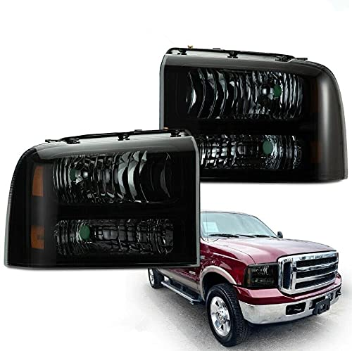 2Pcs Smoked Housing Headlight Lamps Compatible for Ford 2005-2007 F250 F350 Super Duty Driver Left And Passenger Right Side Headlamp