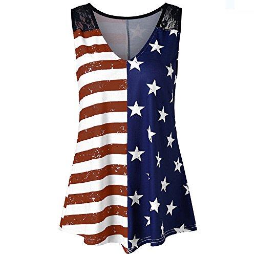 ThsiJJ Tank Tops for Womens Tops Fashion Women American Flag Print Lace Insert V-Neck Tank Tops Shirt Blouse