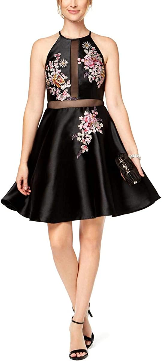 Xscape Women's Embroidered Illusion Fit & Flare Dress