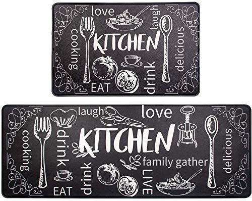 Pauwer Tappetino da Cucina Anti-Fatica in PVC, Comodo Tappetino da Cucina, per Ufficio, casa, Interni ed Esterni (Cucina Nera, 44 cm x 70 cm + 44 cm x 120 cm)