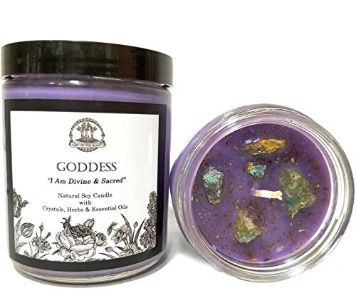 Goddess Affirmation Candle: 8 oz Natural Soy with Chrysocolla Crystals, Herbs & Essential Oils for Divinity, Wisdom, Power, Admiration & Spirituality for Wiccan, Pagan & Magic Spells & Rituals