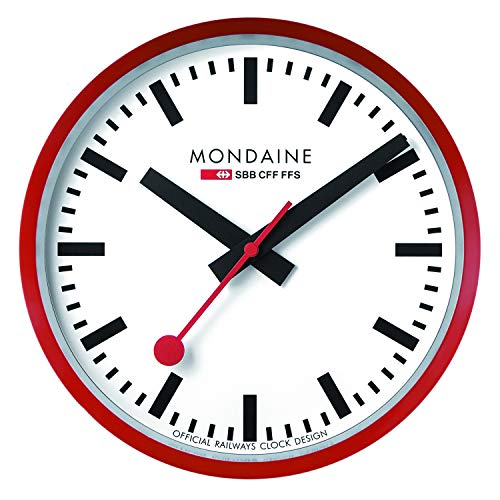 Mondaine Wanduhr - Rot Bahnhofsuhr - Edelstahl, A990.Clock.11SBC, 25 cm