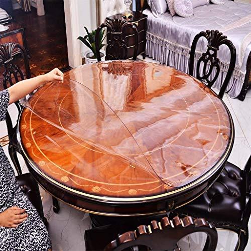 XHNXHN Mantel redondo de PVC transparente de cristal suave resistente al agua, lavable mesa de comedor, mesa de café (110 cm redondo)