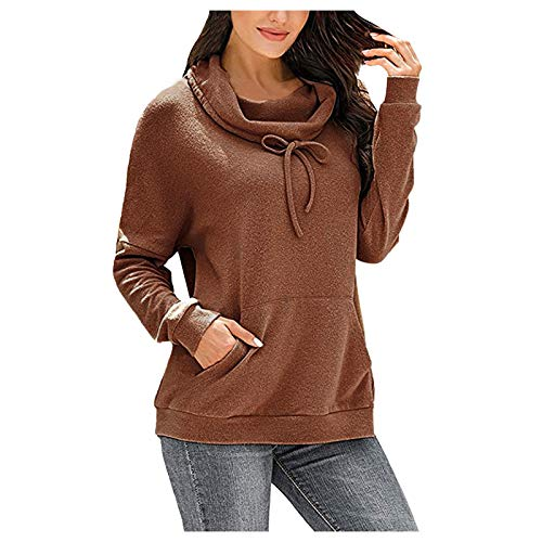 LUOMIO Women's Long Sleeve Crew Neck Striped Color Block Casual Loose Knitted Pullover Sweater Tops Womens Turtleneck Brown