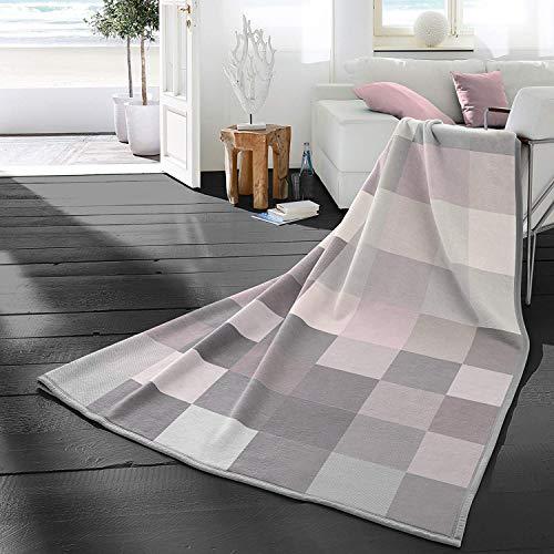 biederlack Wohndecke Cotton Home 9 | Check pink - 150 x 200 cm