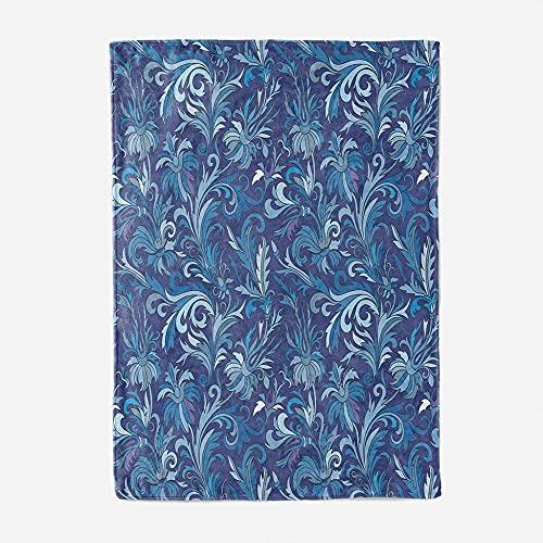 Manta Sherpa, Manta para Cama de 100% Microfibra Extra Suave de Felpa Dormitorio Sala de Estar sofá Cama, Manta Hijo: 70x100cm, Flor Azul