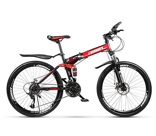 MOOLUNS 24 Pulgadas Chico Bicicleta de Montaña,30 Velocidades Rueda de Radios Plegable Bicicletas de Acero Al Carbono,Doble Choque Velocidad Variable Bicicleta, Unisexo,Rojo,24in (27 Speed)
